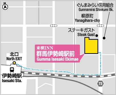 Toyoko Inn Gumma Isesaki EkimaeHotel Information Room Rates - Isesaki map