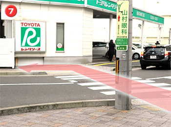 7. Walk cross the crosswalk in front of Toyota rent-a-car and turn left.